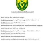 pre christmas traing schedule